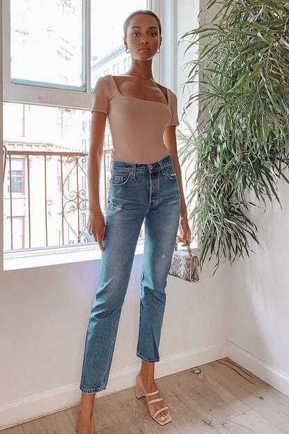 501 Original Fit Distressed Dark Wash High-Rise Jeans