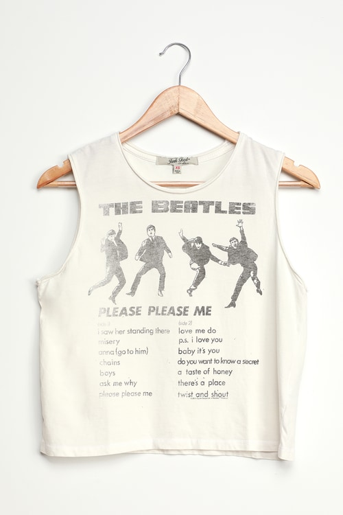 Junk Food The Beatles White Graphic Tank Top