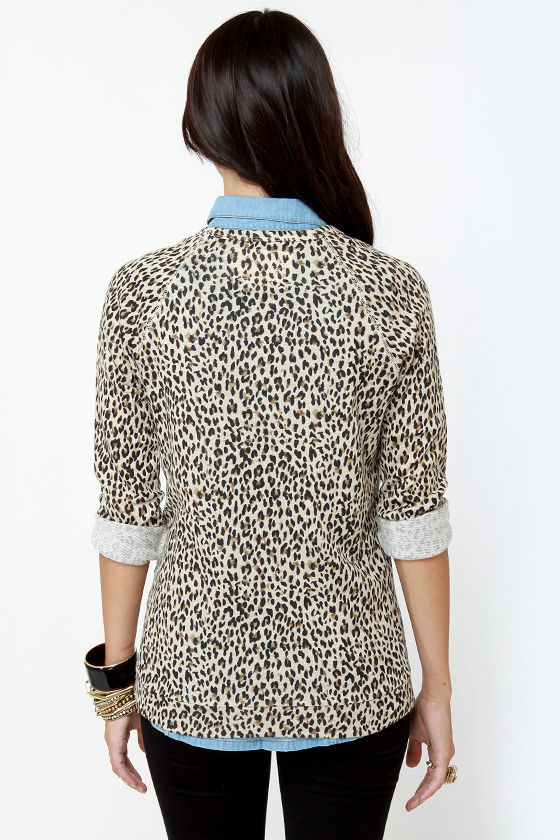 Obey Echo Mountain Leopard Print Sweater Top at Lulus.com!