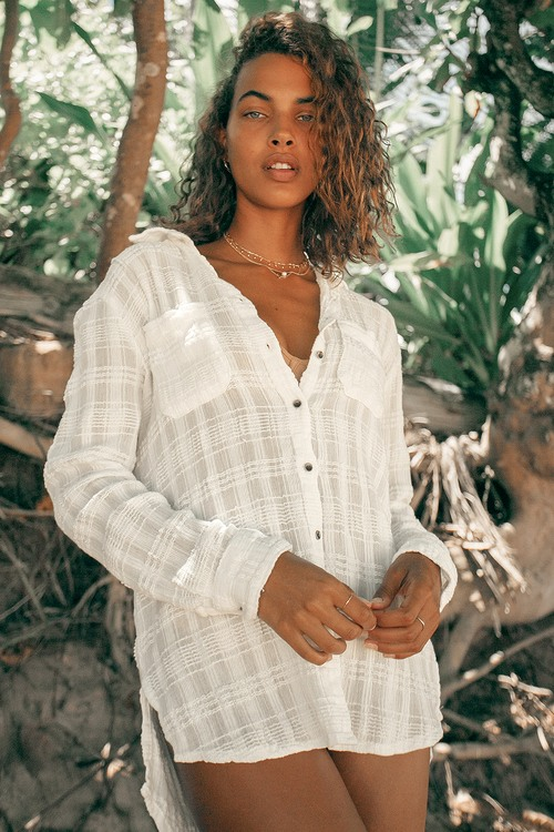 Billabong Easy Movin White Button-Up Long Sleeve Top