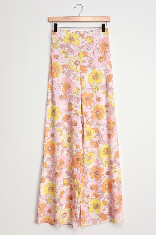 Power 2 The Flower Simone Pink Multi Floral High Waisted Swim Cover-Up Pants