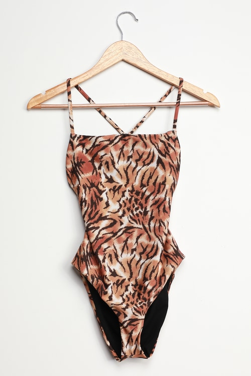 Deep Dive Orange Tiger Print Lace-Up One-Piece Swimsuit
