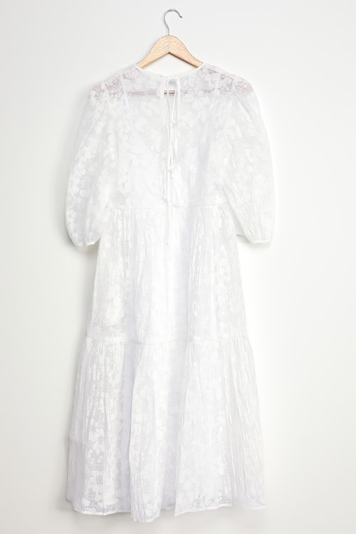 WAYF Channing White Tie-Back Puff Sleeve Tiered Midi Dress