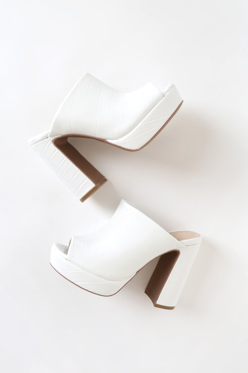 Dion White Croco Peep-Toe Platform Mules