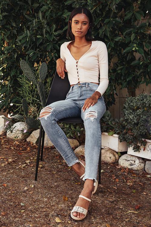 Larisa Light Wash Denim Distressed Raw Hem Skinny Jeans