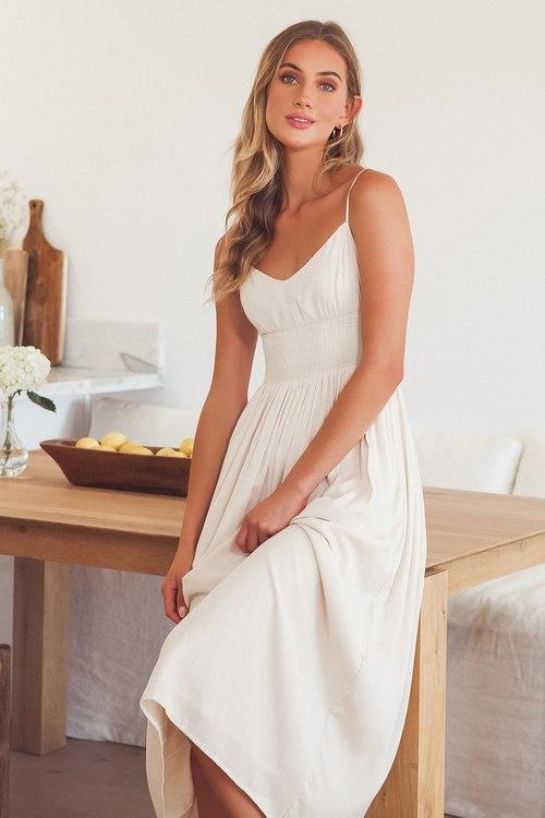 Full Heart Cream Smocked Midi Dress