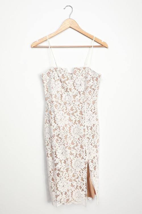 Amazing Allure White Crochet Lace Bodycon Midi Dress