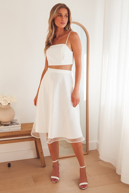 What a Darling White Organza Midi Skirt