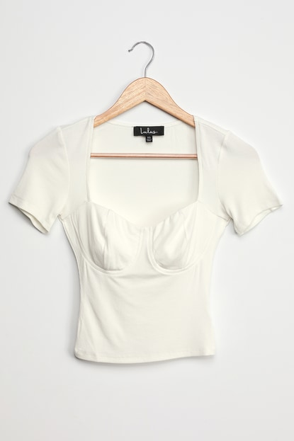 Can't Be Missed White Ribbed Bustier Short Sleeve Top
