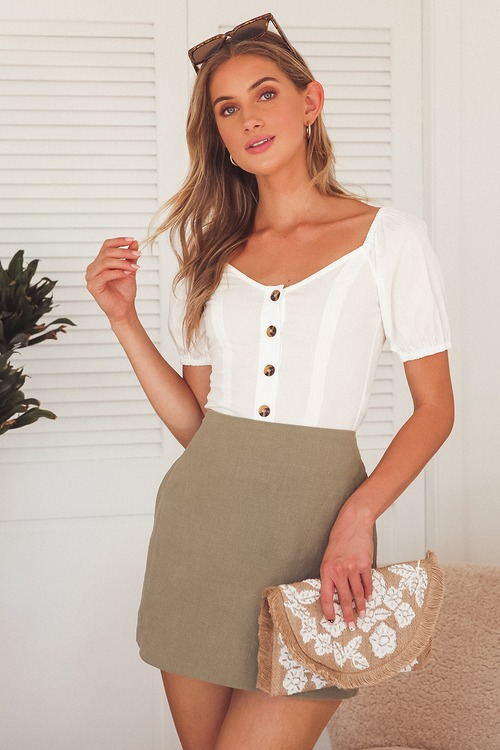 Breezy Moments White Button Front Puff Sleeve Top