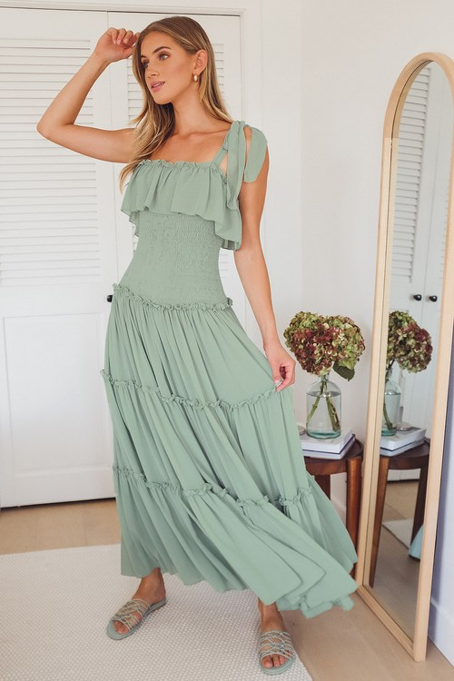 Like a Fairy Tale Sage Green Smocked Tie-Strap Tiered Maxi Dress