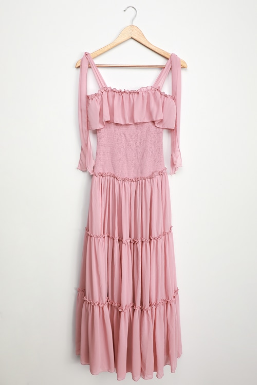 Like a Fairy Tale Dusty Pink Smocked Tie-Strap Tiered Maxi Dress