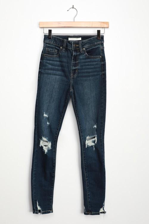 Bella Dark Wash Distressed High-Waisted Skinny Jeans