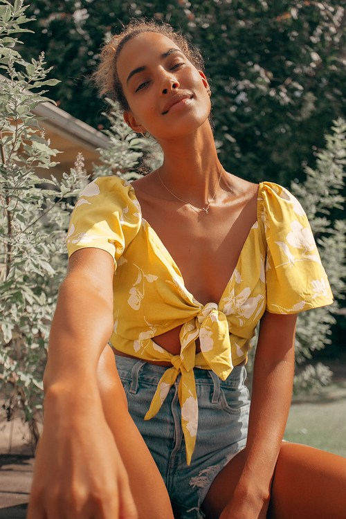 Tied for First Mustard Yellow Floral Print Tie-Front Crop Top