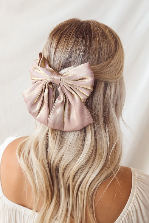 There You Bow Taupe Oversized Bow Hair Clip