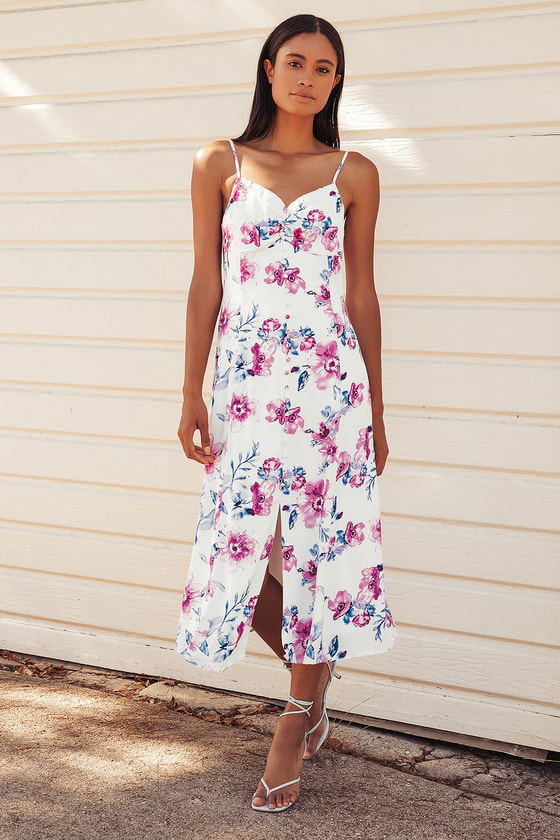 Now and Fleur-Ever White Floral Print Button Front Midi Dress