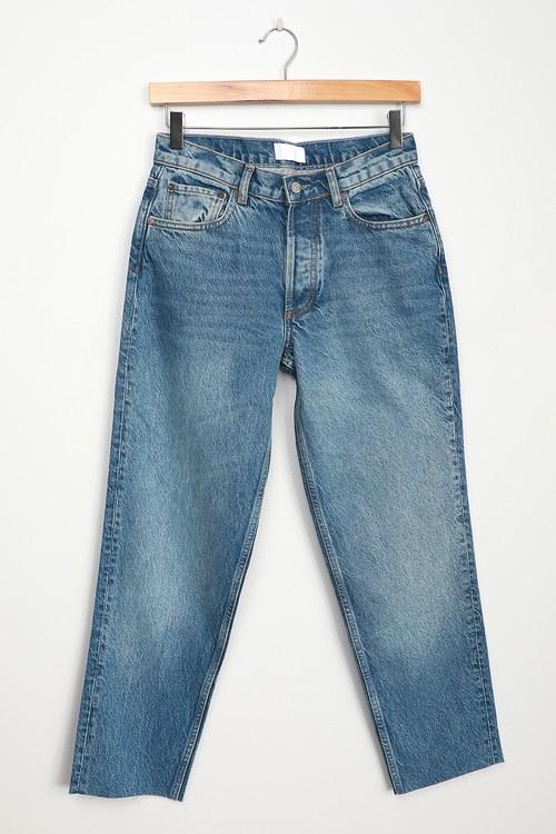 Boyish The Tommy Medium Wash High-Rise Raw Hem Straight Jeans