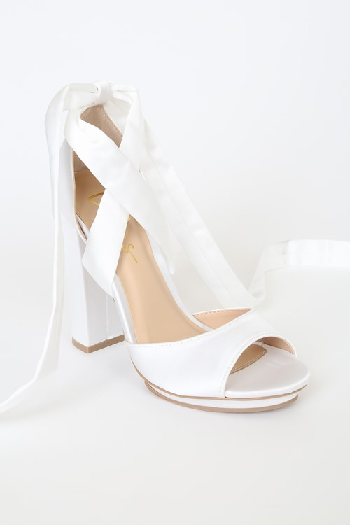 Dorian Ivory Satin Lace-Up Platform Heels