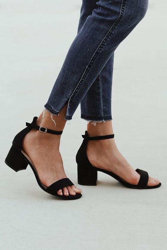 Harper Black Suede Ankle Strap Heels