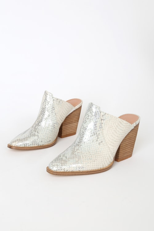 Chinese Laundry Beaute Cream and Silver Snake Pointed-Toe Mules