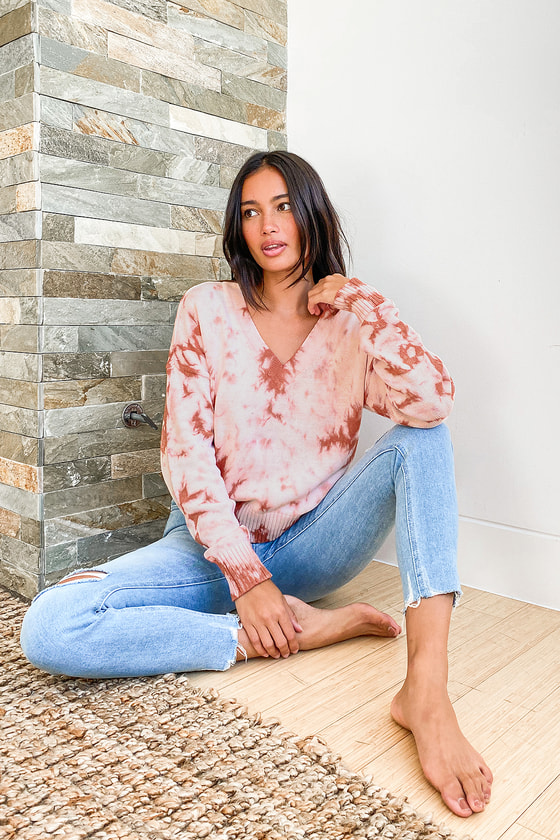 Chill With Me Blush Tie-Dye Knit Pullover Sweater
