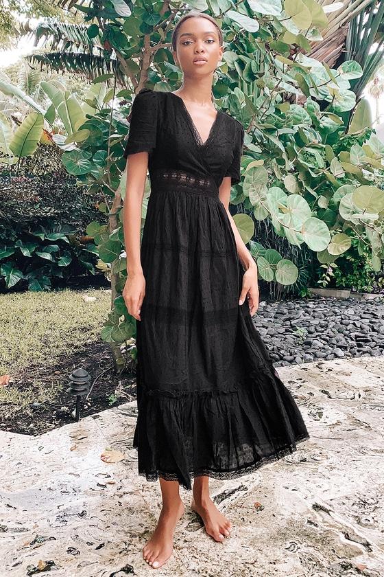 70s Dresses – Disco Dress, Hippie Dress, Wrap Dress Folklore Black Swiss Dot Lace Tiered Midi Dress  Lulus $89.00 AT vintagedancer.com