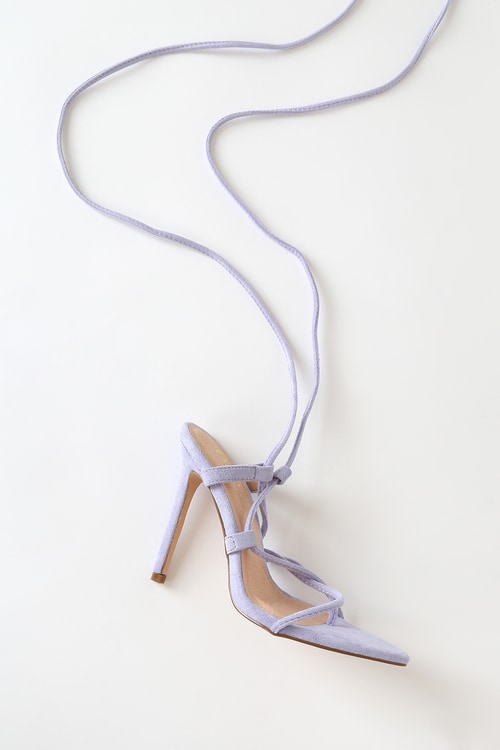 Miranna Purple Suede Lace-Up High Heel Sandals