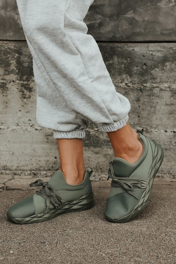 Olive Green Sneakers - Street Style