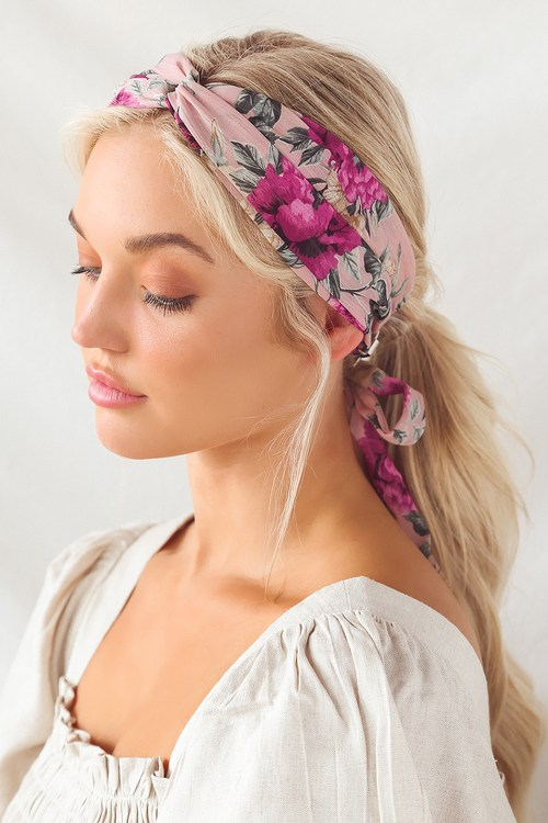 Lovely Feelings Blush Pink Multi Floral Print Knotted Headband