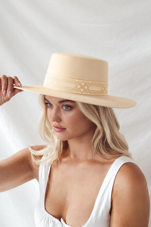 Lack Of Color Sierra Ivory Wool Wide-Brimmed Boater Hat
