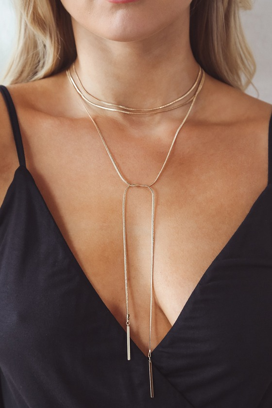 So Into It Gold Snake Chain Bolo Necklace