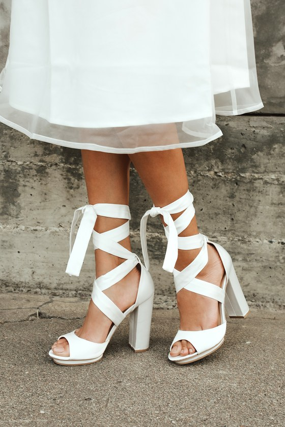 Lovely Ivory Heels - Lace-Up Heels