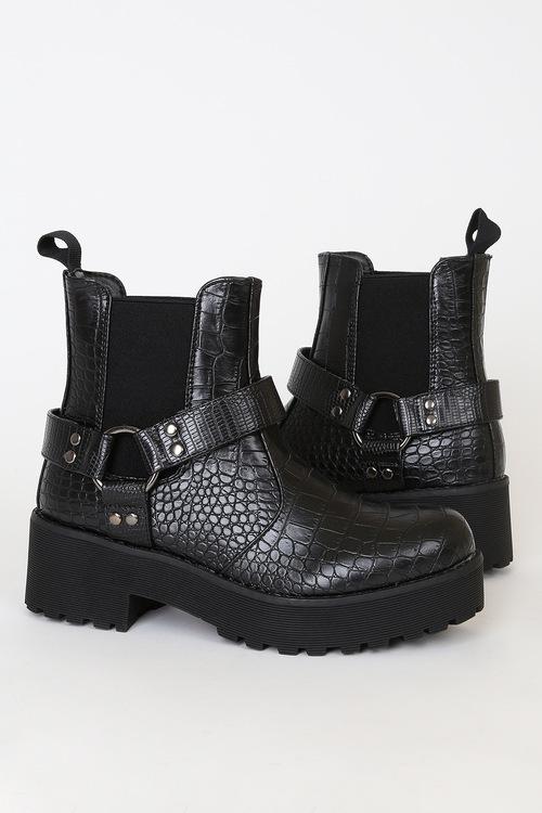Make It Black Crocodile-Embossed Platform Ankle Boots