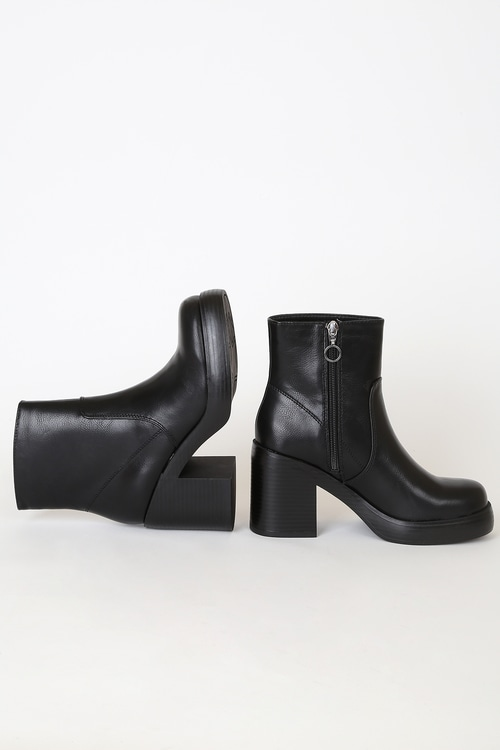 Dirty Laundry Groovy Black Platform Ankle Boots
