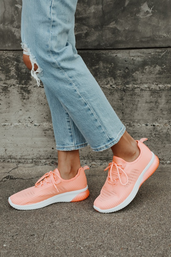 Coral Knit Sneakers - Cute Lace-Up