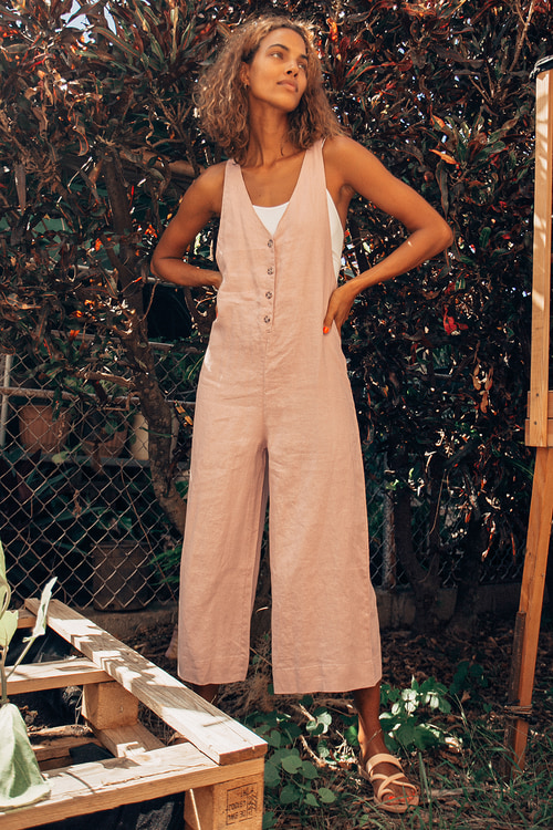 Rhythm Amalfi Blush Button-Up Culotte Jumpsuit