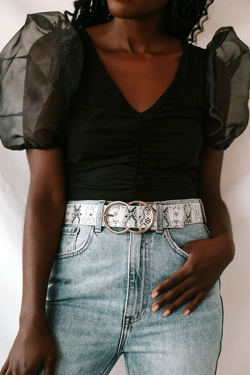 Double Oh Heaven Black and White Snake Double Buckle Belt
