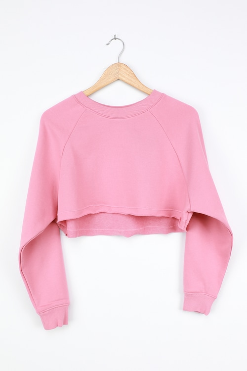 NIA Orchard Rose Pink Cropped Pullover Sweatshirt