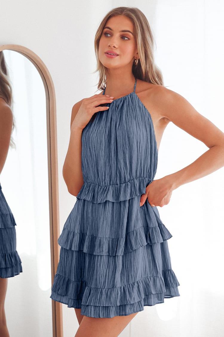 Downright Darling Light Blue Ruffled Halter Mini Dress