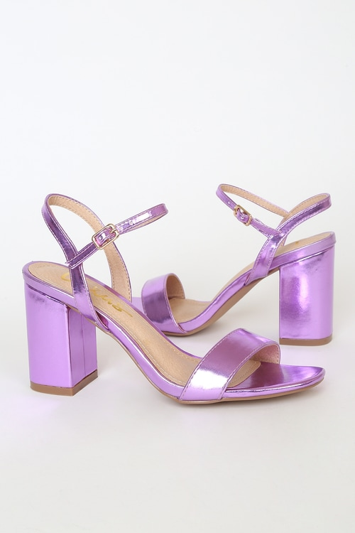 Arya Purple Metallic High Heel Sandals