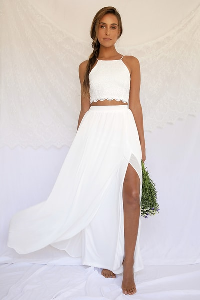 what wear rehearsal dinner - two pieces white dress for pre-event