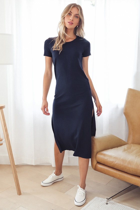 Cool and Classy Navy Blue Ribbed Midi Shirt Dress
