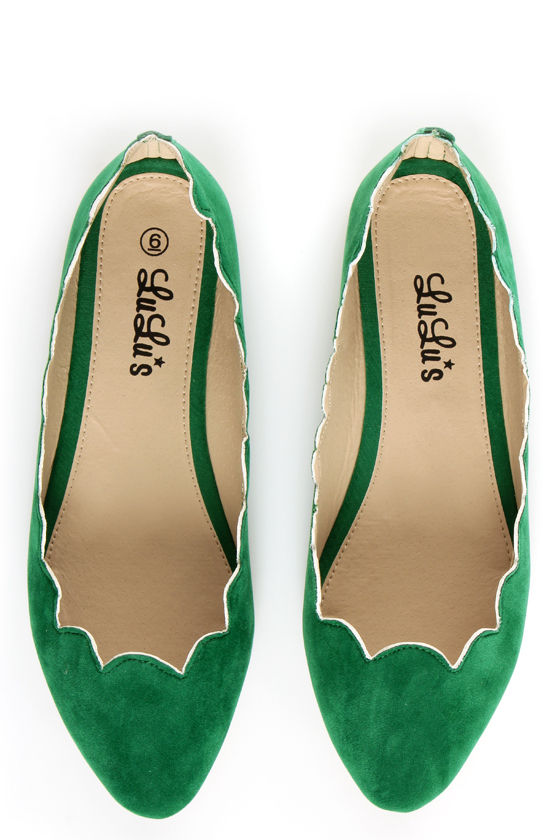 LuLu*s Scallopini Green Scalloped & Pointed Flats at Lulus.com!