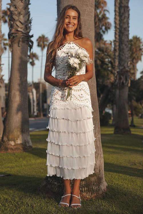 Elliatt Waltz White Eyelet Lace Tiered Strapless Midi Dress