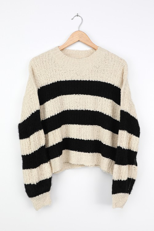 LUSH Cozy and Classic Beige Striped Knit Sweater
