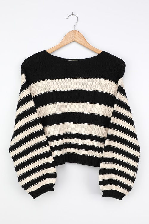 Billabong Seeing Stripes Black Striped Knit Sweater