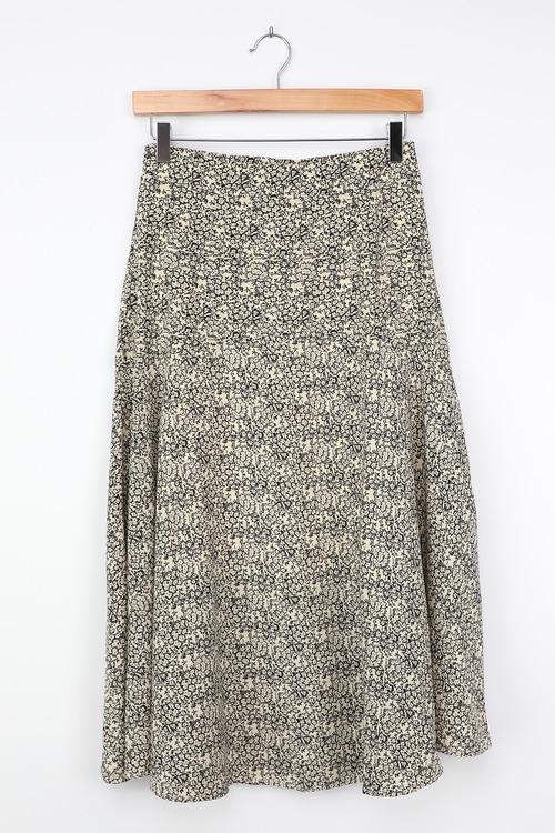 Favorite Date White Floral Print Midi Skirt