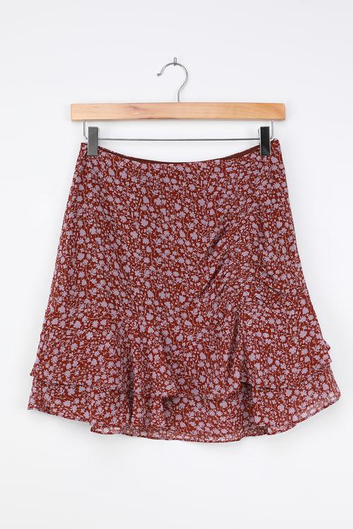 LUSH Always Carefree Rust Brown Floral Print Ruffled Mini Skirt