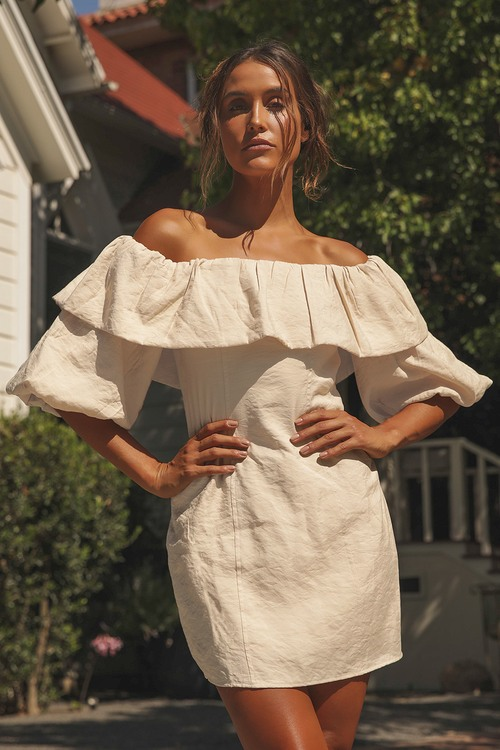 Boldly Beautiful Beige Puff Sleeve Off-the-Shoulder Mini Dress