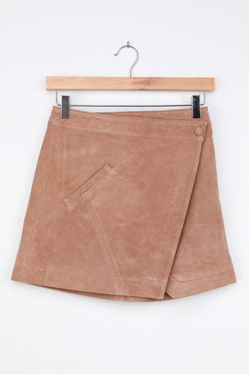 Blank NYC Act Natural Tan Suede Leather Mini Wrap Skirt